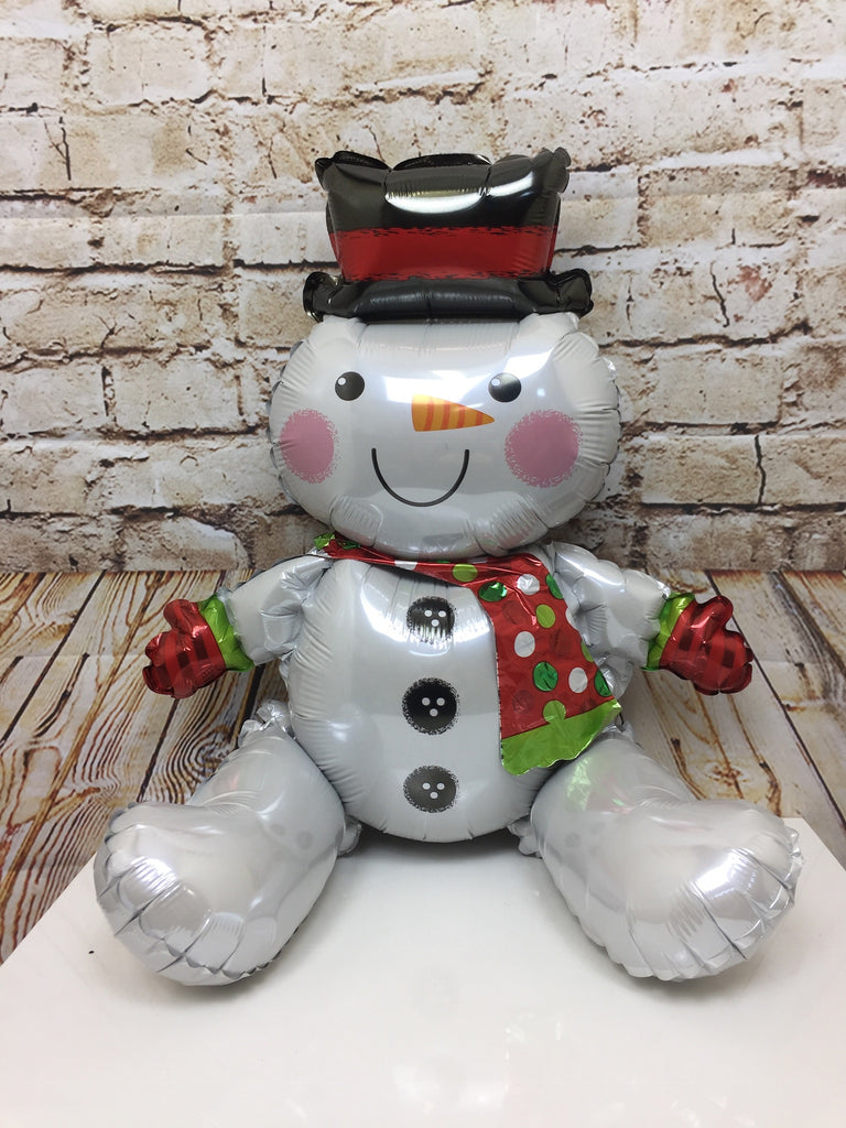 Sitting Snowman Shaped Foil Balloon (Supplied Un-inflated)