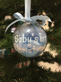 Christmas Bauble - Baby's 1st Christmas Blue Feathers