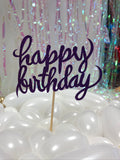 Purple Happy Birthday Cake Topper