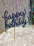 Dark Blue Happy Birthday Cake Topper