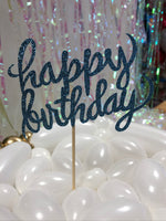 Light Blue Happy Birthday Cake Topper