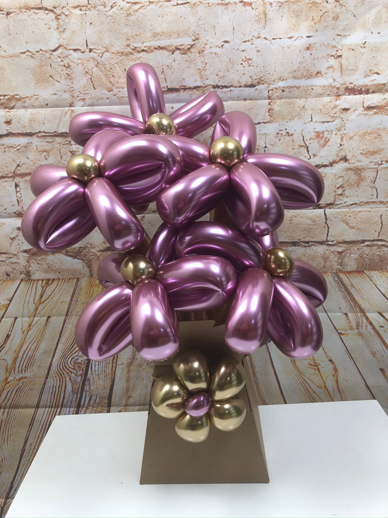Bouquet of Balloon Flowers - Chrome Traditional Flowers (Bunch of 5)