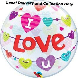 I Love You Banner Hearts Bubble Balloon