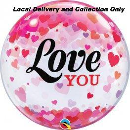 Love You Confetti Hearts Bubble Balloon