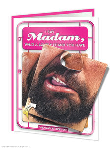 Madam facematt funny birthday card with wearable face mat