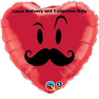 Love Heart Mr Moustache Foil Balloon