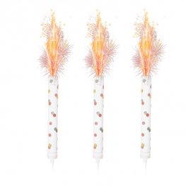 White and Rose Gold Spot Ice Fountain Candles - Pack of 3