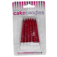 Red Glitter Candle (Pack of 12)