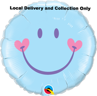 Sweet Smile Face Pale Blue Foil Balloon
