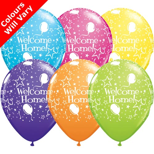 "11"" Welcome Home! Stars Tropical Assortment Latex Balloons (Pack 6 Uninflated)"