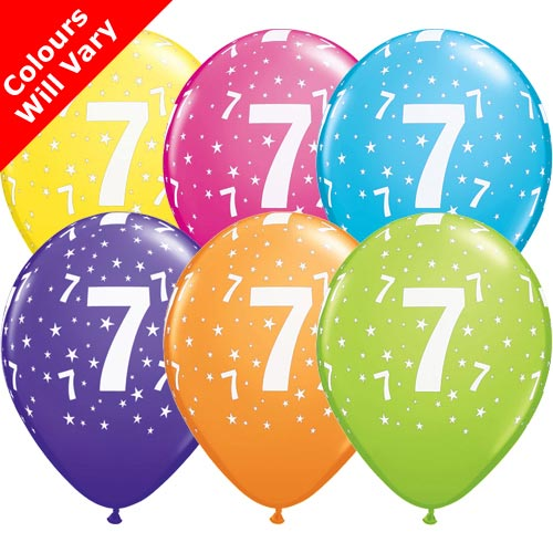 "11"" 7-A-Round Tropical Assortment Latex Balloons (6 Pack)"