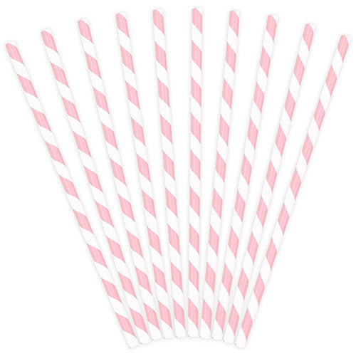 Light Pink Striped Paper Straws (Pack of 10)