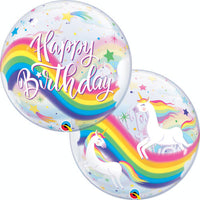 Birthday Rainbow Unicorns Bubble Balloon