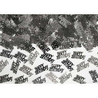 Black and Silver Happy Birthday Metallic Confetti