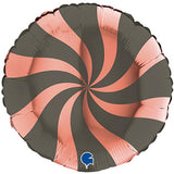 "18"" Platinum Grey & Rose Gold Swirly Foil Balloon"