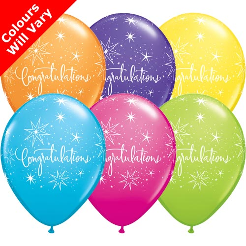 "11"" Congratulations Tropical Assortment Latex Balloons (Pack 6)"
