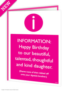 Darling daughter dipstick brother funny birthday card