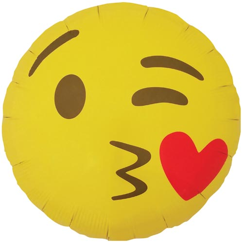 "18"" Emoji Kissing Heart Foil Balloon"