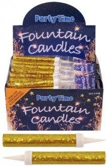 Gold Ice Fountain Candles - Pack of 2