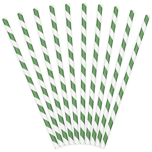 Green Striped Paper Straws (Pack of 10)