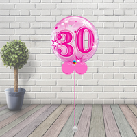 30 Pink Starburst Sparkle Bubble Balloon