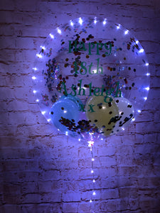 "24"" Light Up Deco Bubble With Printed Vinyl Message - White Lights"