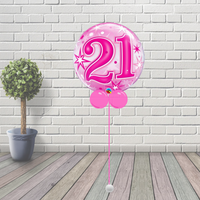 21 Pink Starburst Sparkle Bubble Balloon