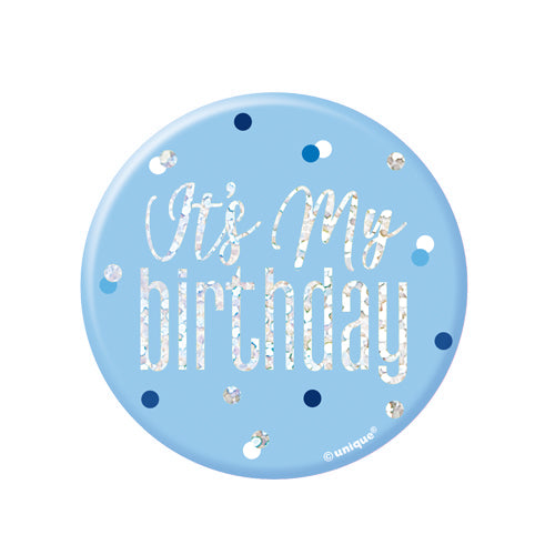 It's My Birthday Blue & Silver Badge
