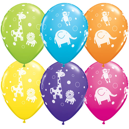 "11"" Cute & Cuddly Jungle Animals Assortment Latex Balloons (Pack 6 Uninflated)"
