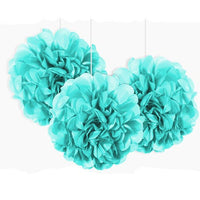 3 Mini Paper Puff Balls Powder Blue