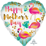 "18"" Mothers Day Flamingos Heart Foil Balloon"