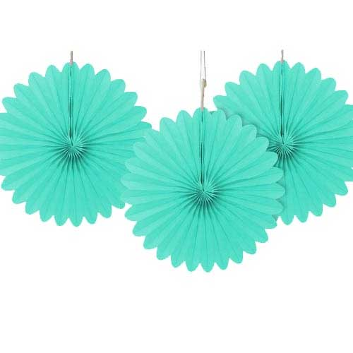 "6"" Powder Blue Tissue Paper Fans (Pack of 3)"