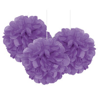 3 Mini Paper Puff Balls Pretty Purple