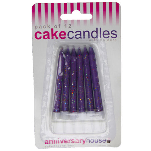 Purple Glitter Candle (Pack of 12)