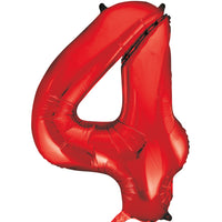 Large Red Number 4 Balloon By Unique