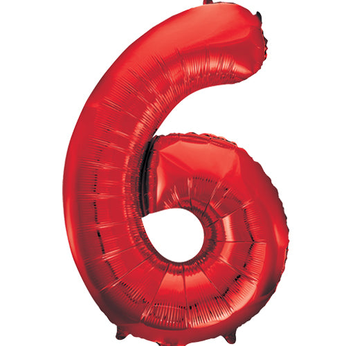 Large Red Number 6 Balloon By Unique