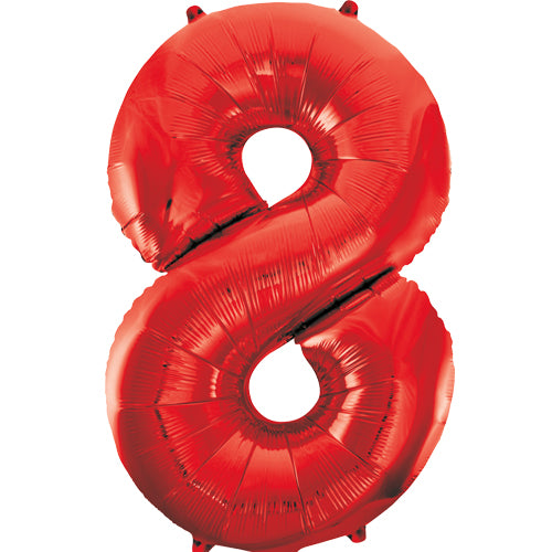 Large Red Number 8 Balloon By Unique