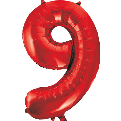 Large Red Number 9 Balloon By Unique