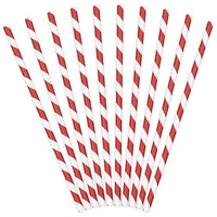 Red Striped Paper Straws (Pack of 10)