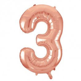 Large Rose Gold Number 3 Balloon