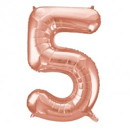 Large Rose Gold Number 5 Balloon