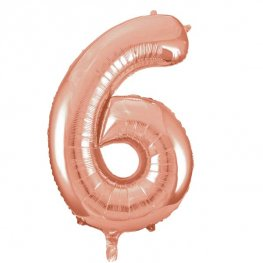 Large Rose Gold Number 6 Balloon