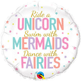 "18"" Unicorn, Mermaids, Fairies Foil Balloon"