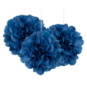 3 Mini Paper Puff Balls Royal Blue