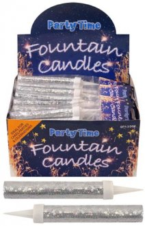 Silver Ice Fountain Candles - Pack of 2
