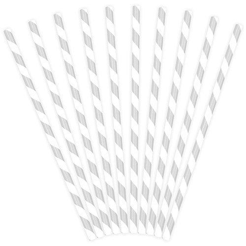 Silver Striped Paper Straws (Pack of 10)