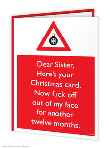 Sister F*ck Off 12 Months Christmas Card