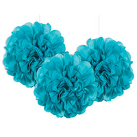 3 Mini Paper Puff Balls Teal