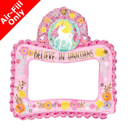 "26"" Magical Unicorn Inflatable Selfie Frame Foil Balloon - Air Filled Only"