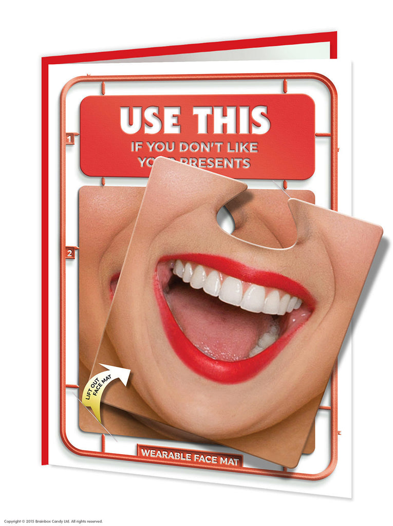 Use this facematt funny birthday card with wearable face mat